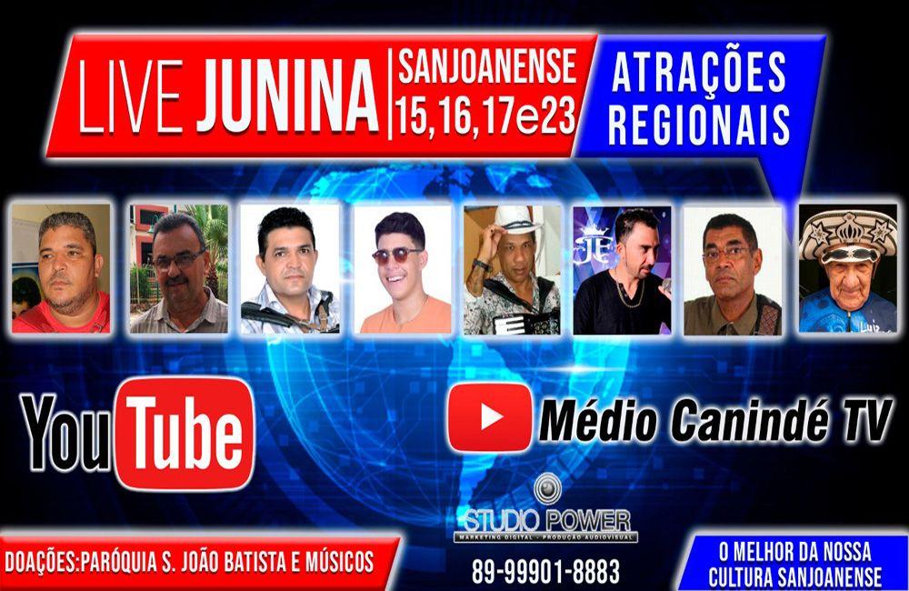 Dias 15. 16. 17 e 23/06, Live Juninas, com Mozart Maia, Gilvan, Edmar do Acordeom, Luiz Yolle, Mano do Forró, João Filho, Hanorinho.