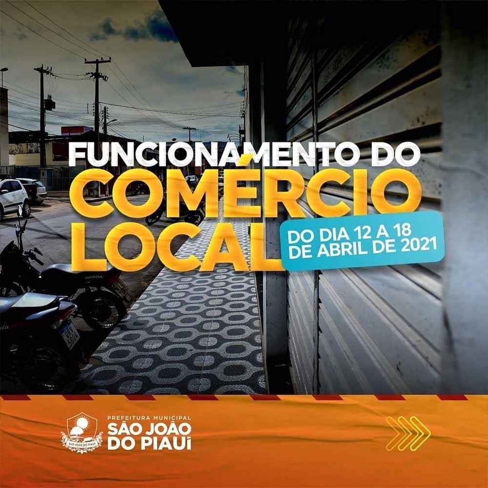 Prefeitura de São João do Piauí divulga medidas restritivas que valem durante a semana